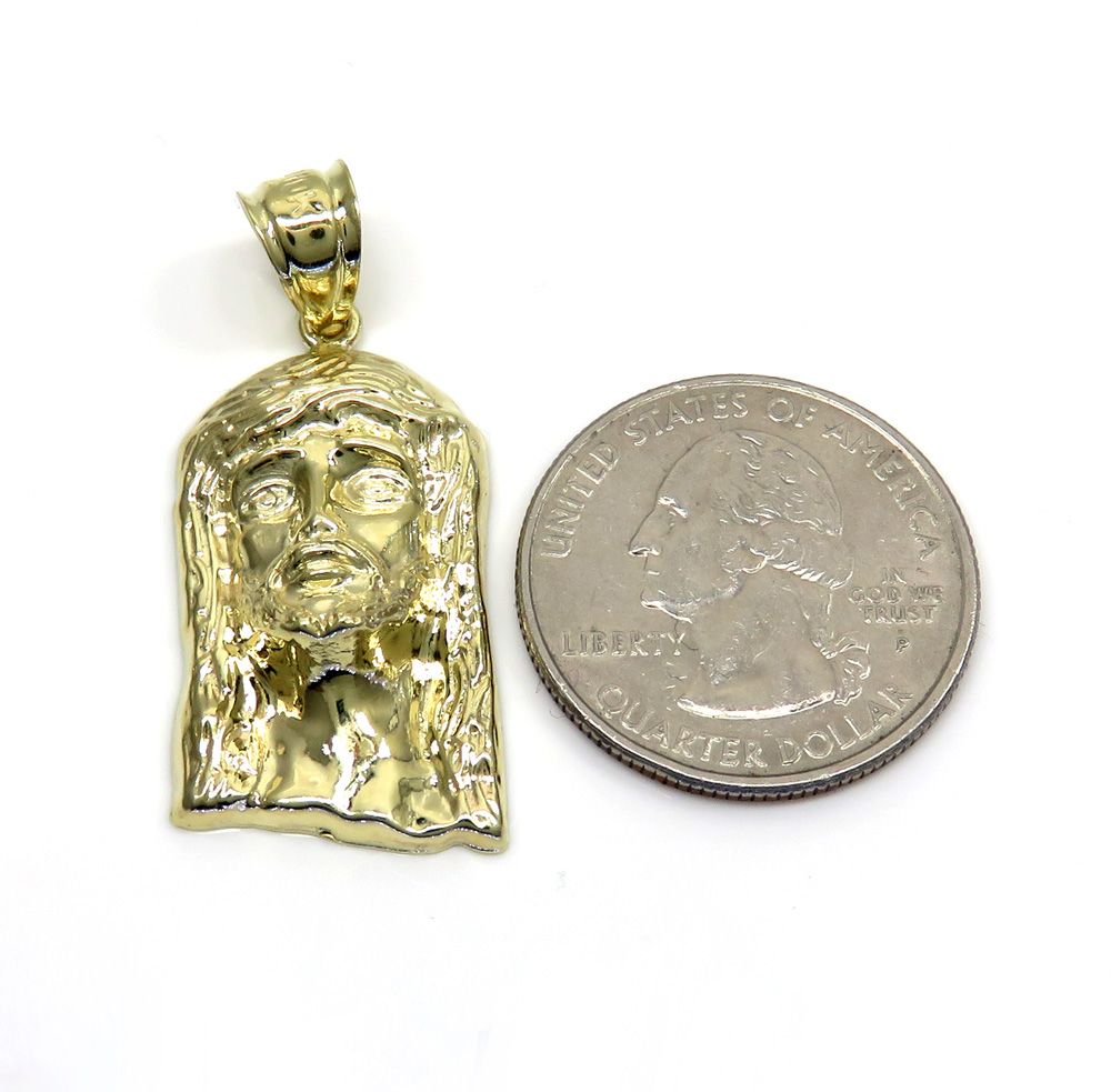 10k yellow gold standard size solid back jesus face pendant