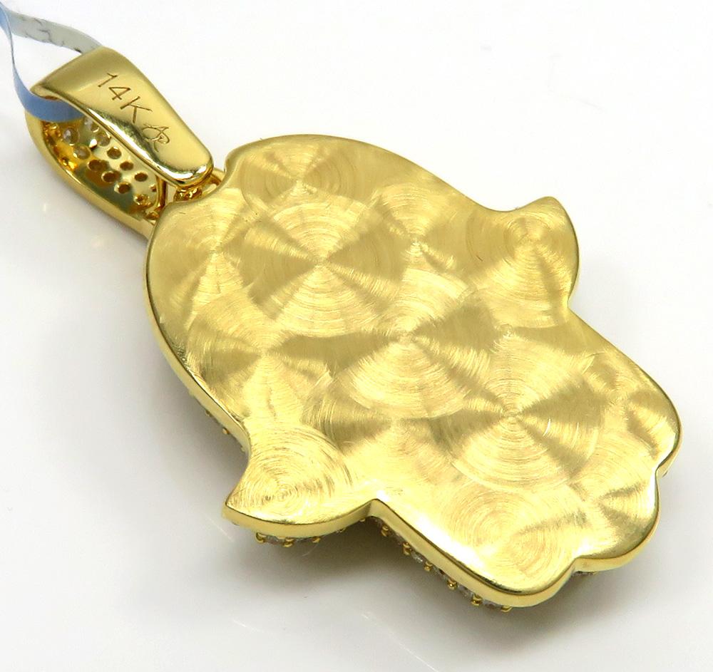 14k yellow gold vs diamond double layered hamsa pendant 2.23ct