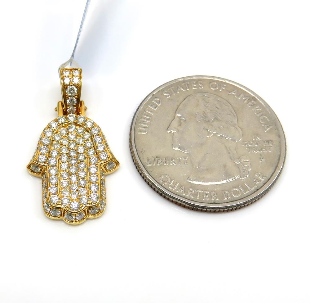 14k yellow gold small vs diamond hamsa pendant 1.05ct