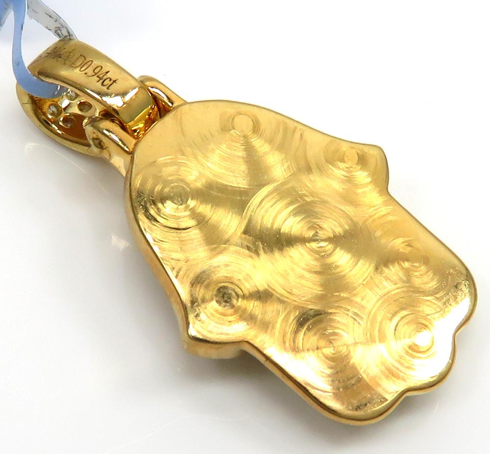 14k yellow gold small vs diamond hamsa pendant 0.94ct