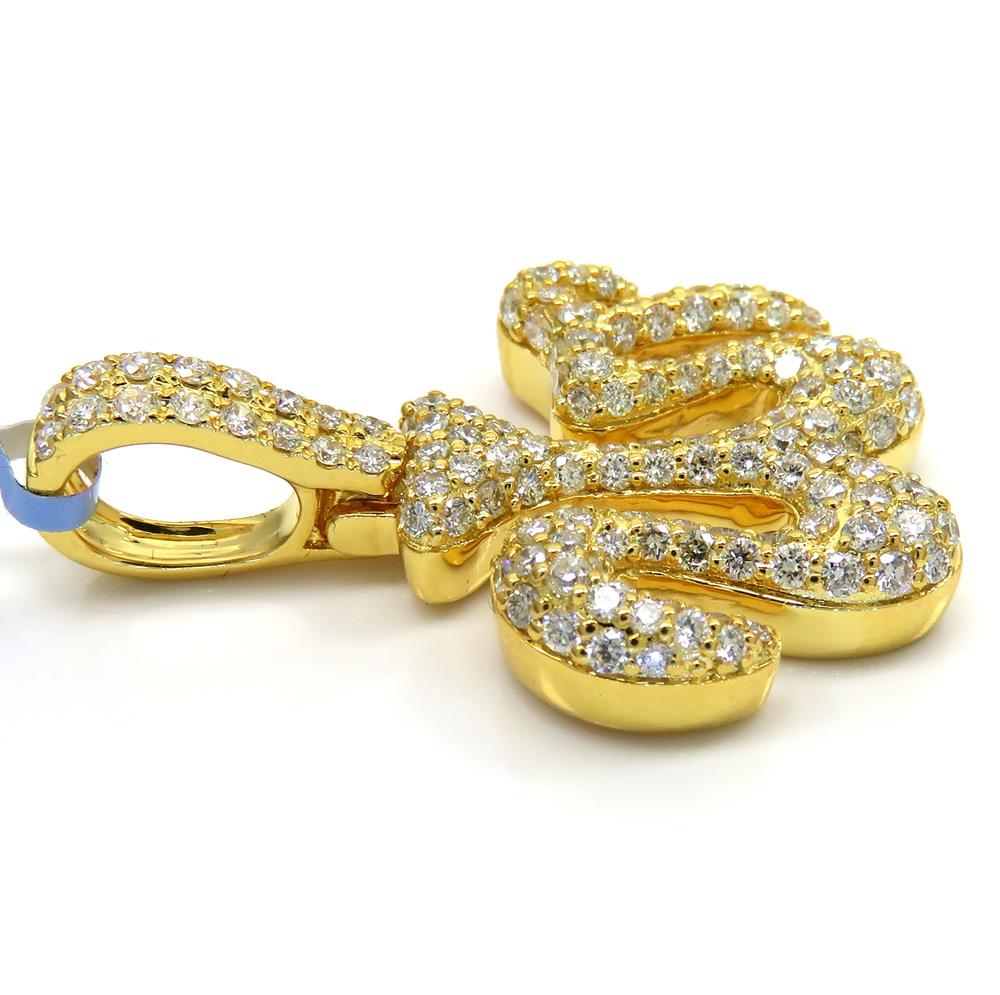 14k solid yellow gold vs diamond allah pendant 1.37ct