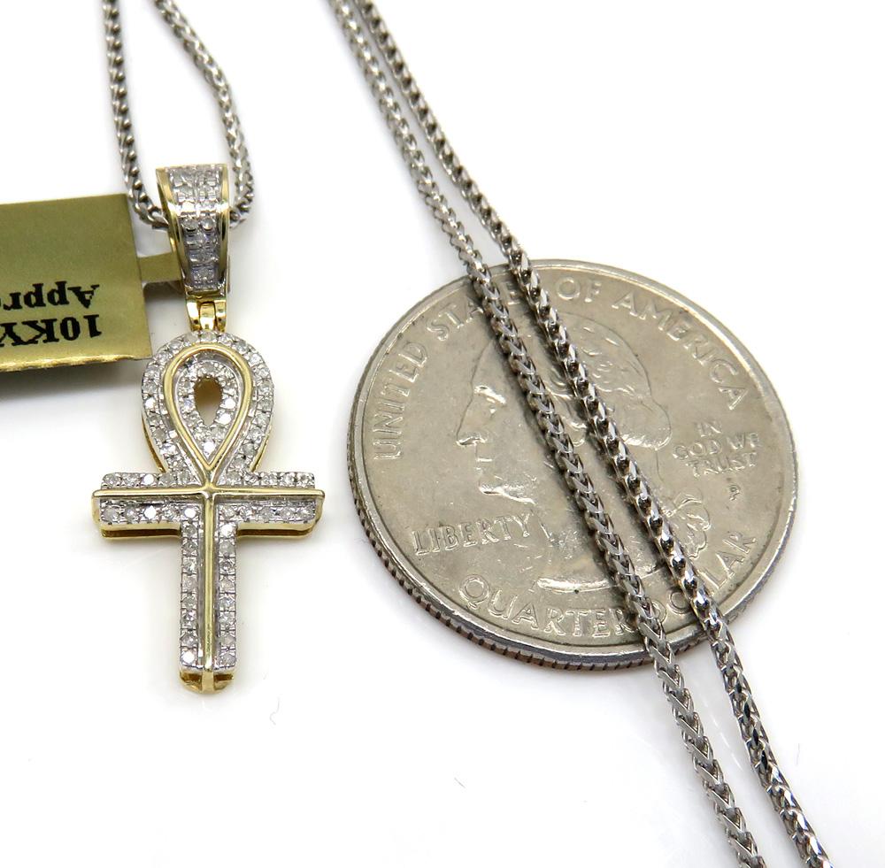 10k yellow gold small diamond ankh pendant 0.18 ct with 18-24