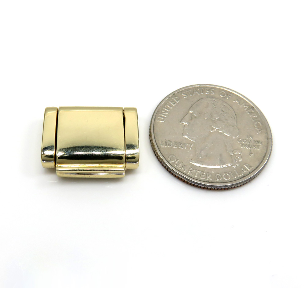 14k yellow gold solid 13mm flap lock