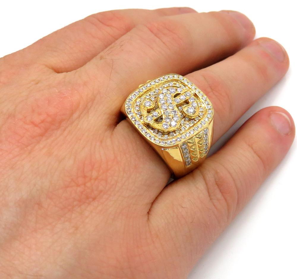 14k yellow white or rose gold diamond dollar sign money ring 1.54ct