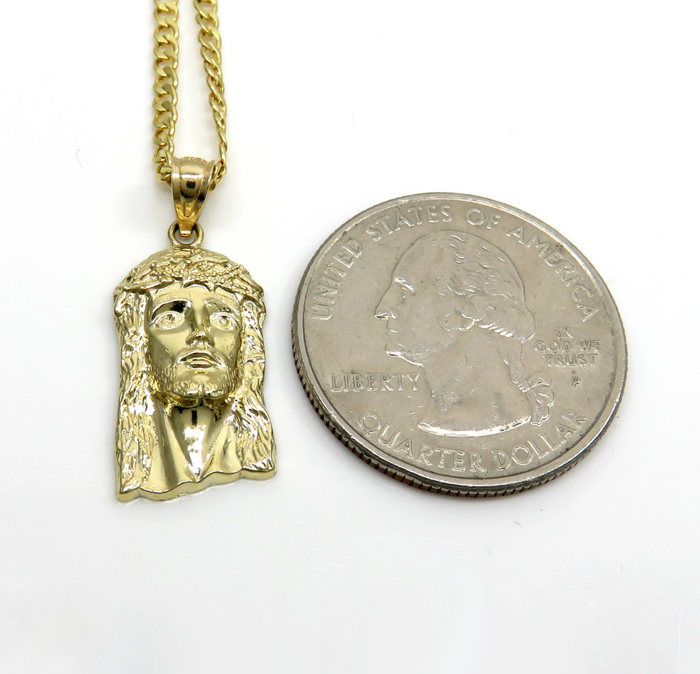 10k yellow gold small classic jesus pendant with 18-24 inch 2mm cuban chain