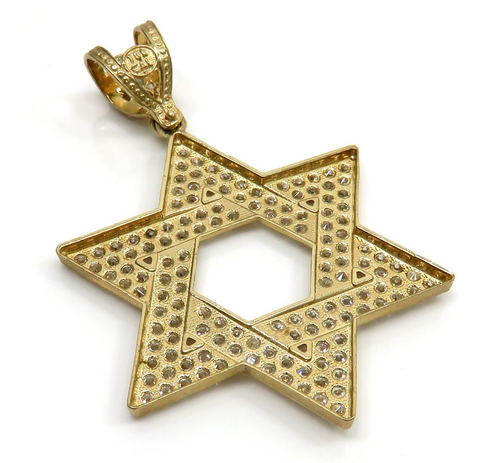 10k yellow gold large jewish star of david pendant 6.25ct