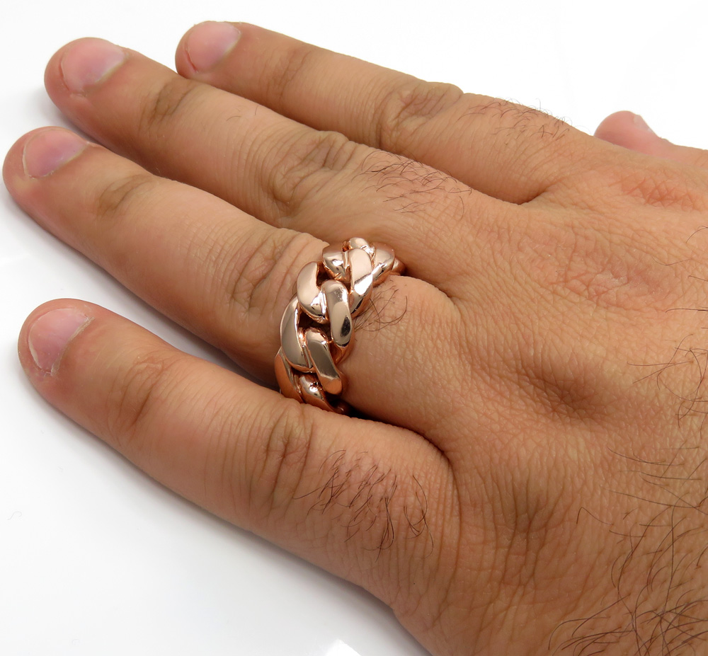 18k rose gold 11mm solid miami cuban link ring