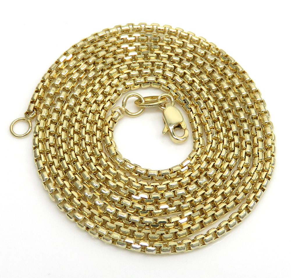 14k yellow gold box link chain 18-24 inch 1.8mm