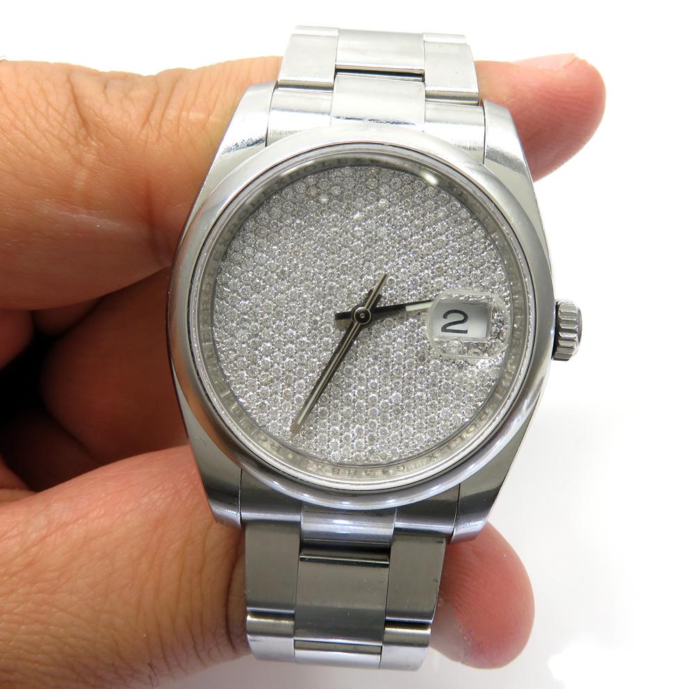 Custom made vs diamond rolex dial 2.00ct