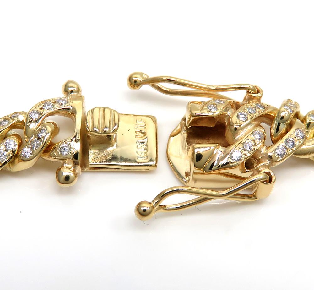 14k solid yellow gold diamond miami bracelet 8.50 inch 8mm 3.00ct