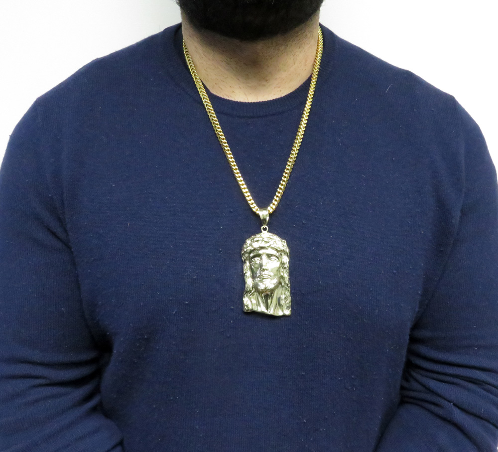 10k solid yellow gold xxl classic jesus face pendant
