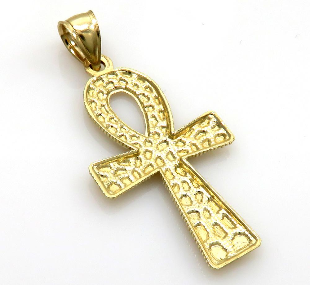 10k yellow gold medium nugget ankh cross
