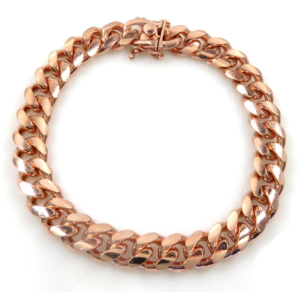 925 rose sterling silver solid miami link bracelet 8.50 inch 10mm