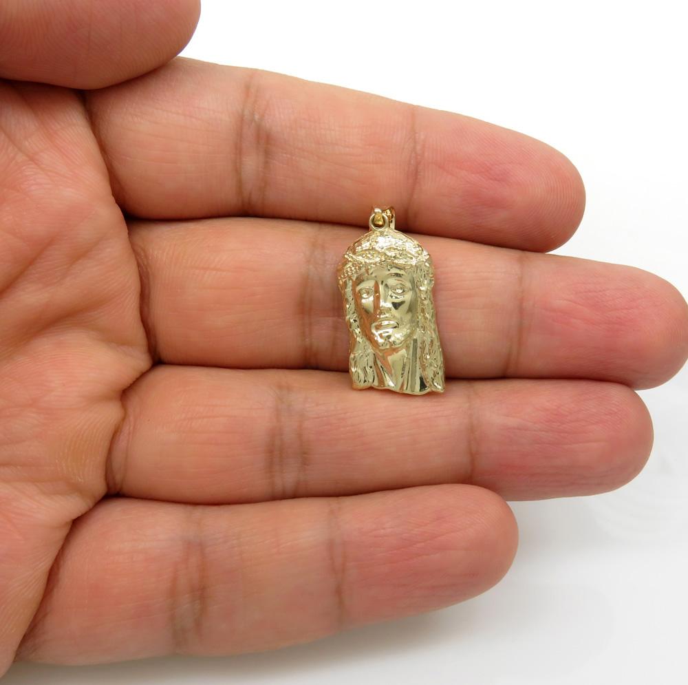 10k yellow gold small classic jesus face pendant