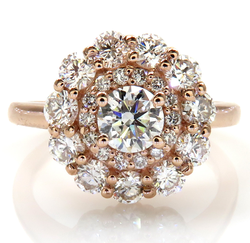 14k rose gold vs round diamond halo cluster engagement  ring 1.50ct