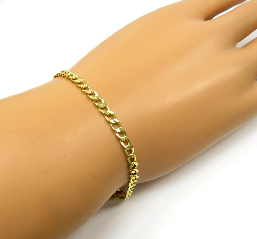 10k yellow gold hollow cuban bracelet 8 inch 3.7mm