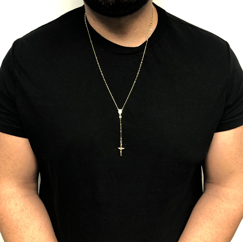 10k yellow gold diamond cut disco bead super skinny rosary chain 26 inch 2.50mm