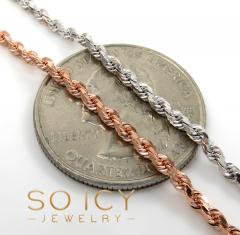 10k rose or white gold solid diamond cut rope chain 18-26 inch 2mm