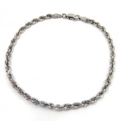 14k solid  white gold diamond cut rope bracelet 7.50 inch 3mm
