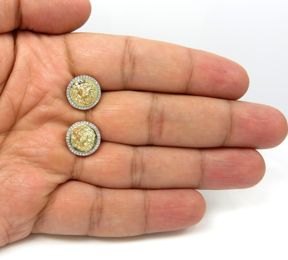10k yellow gold lion diamond halo earrings 0.16ct
