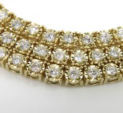 14k yellow gold round 5  pointer diamond illusion tennis chain 3.70mm 6.50ct 20-26