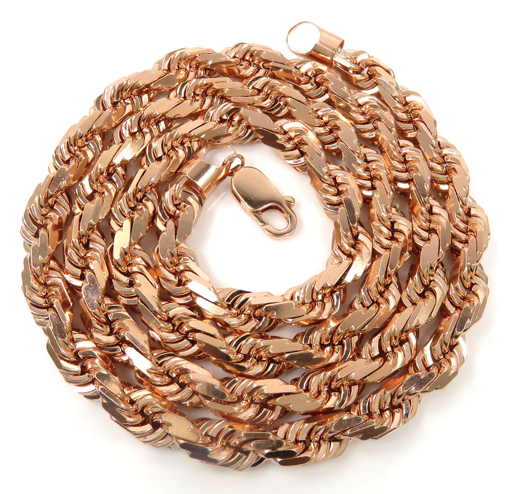 10k rose gold solid diamond cut rope chain 20-26 inches 6.5mm