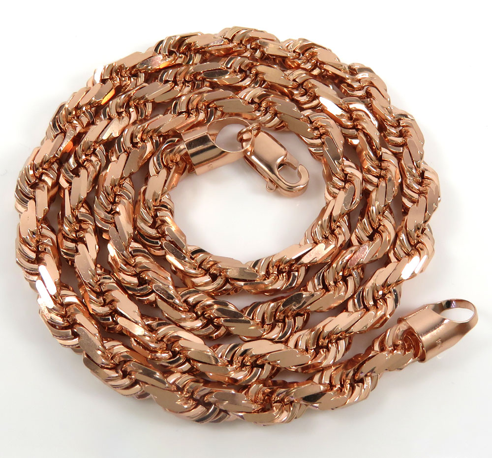 10k rose gold solid diamond cut rope chain 20-26 inches 5.5mm