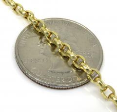 10k yellow gold hollow beveled edge cable chain 24 inch 3mm