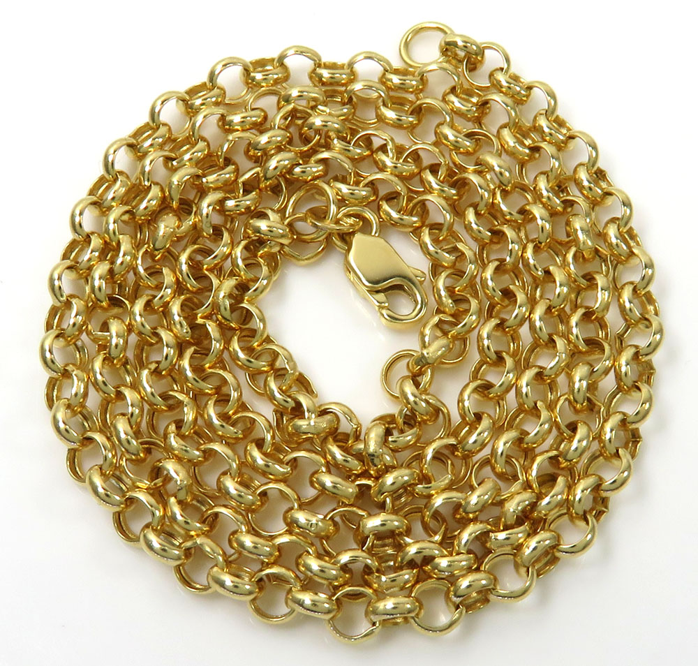 14k solid yellow gold circle link chain 18-22 inch 3.8mm