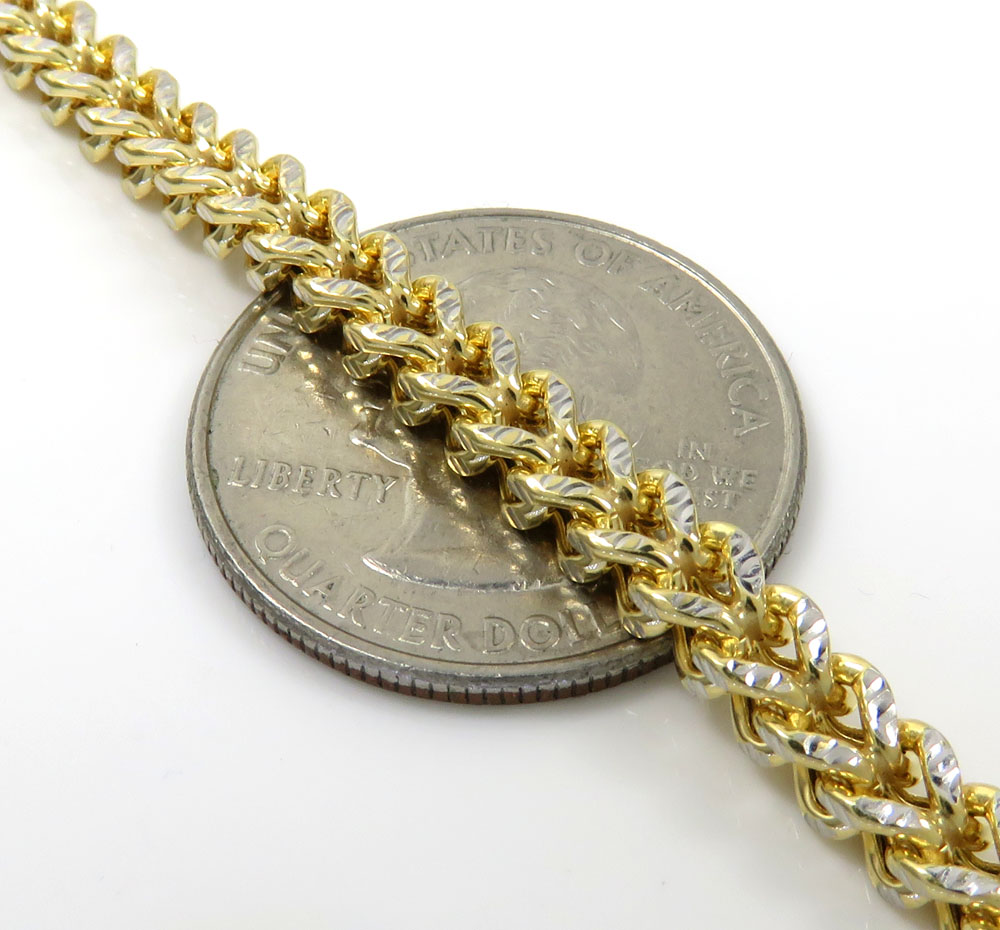 10k yellow gold diamond cut franco link chain 18-26 inch 4mm