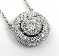 14k white gold diamond tier cluster pendant & necklace 1.16ct