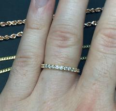 14k gold single row eternity 3 pointer diamond wedding band 1.00ct