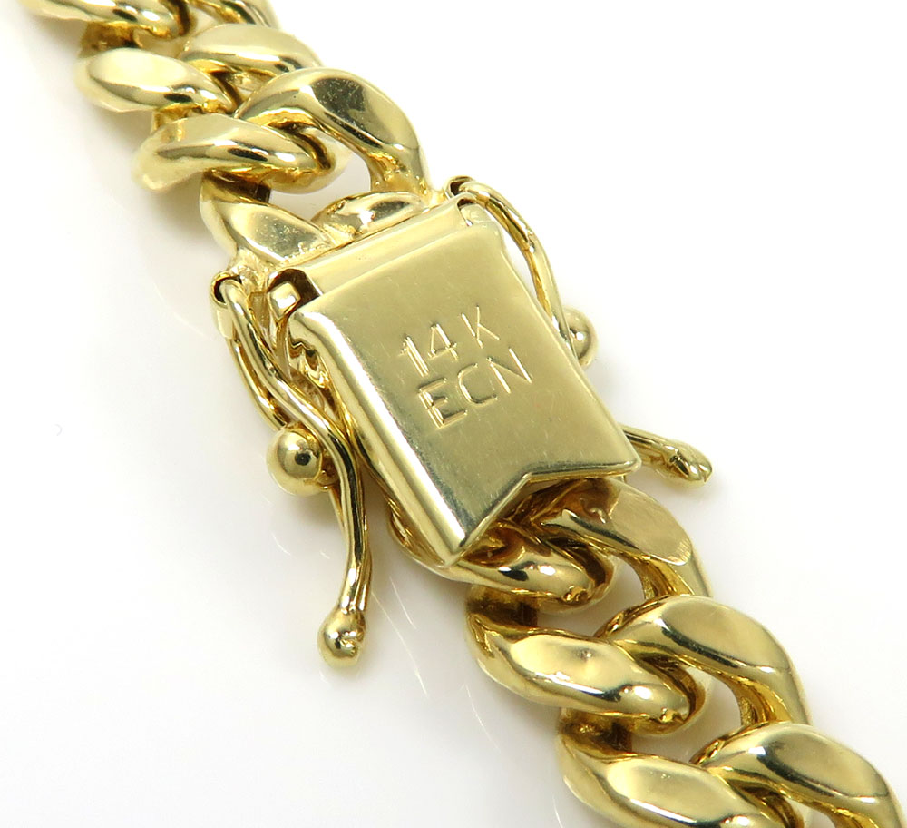 14k yellow gold hollow miami cuban link chain 18-24 inches 6mm