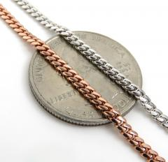 14k rose ,white, yellow gold solid miami link chain 20-24 inch 2.50mm