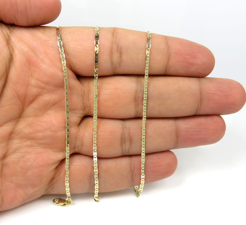 10k yellow gold solid tight mariner link chain 20-24 inch 1.8mm