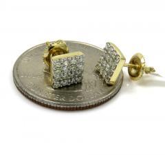14k yellow gold 4 row square diamond earrings 0.40ct