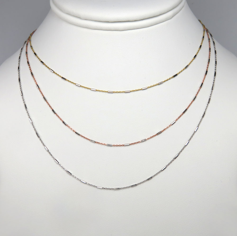 14k solid white yellow or rose gold octagon cylinder cable chain 16-20 inches 1mm