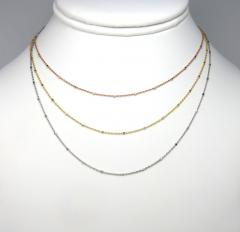 14k solid white yellow or rose gold octagon nut cable chain 16-20 inches 1mm