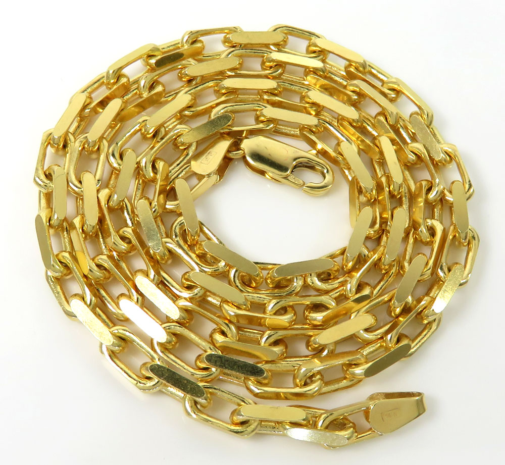 14k yellow gold solid flat edge cable link chain 20-30 inches 3.80mm