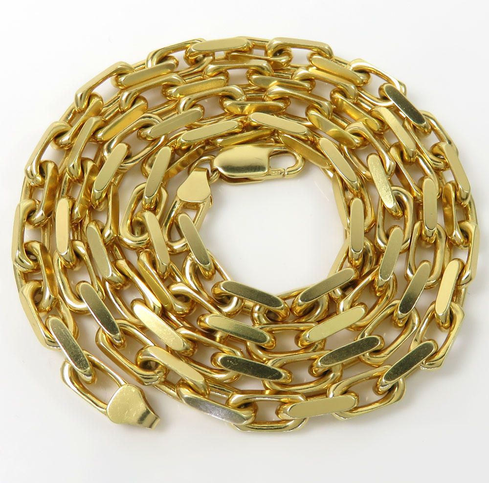 14k yellow gold solid flat edge cable link chain 20-30 inches 4.80mm