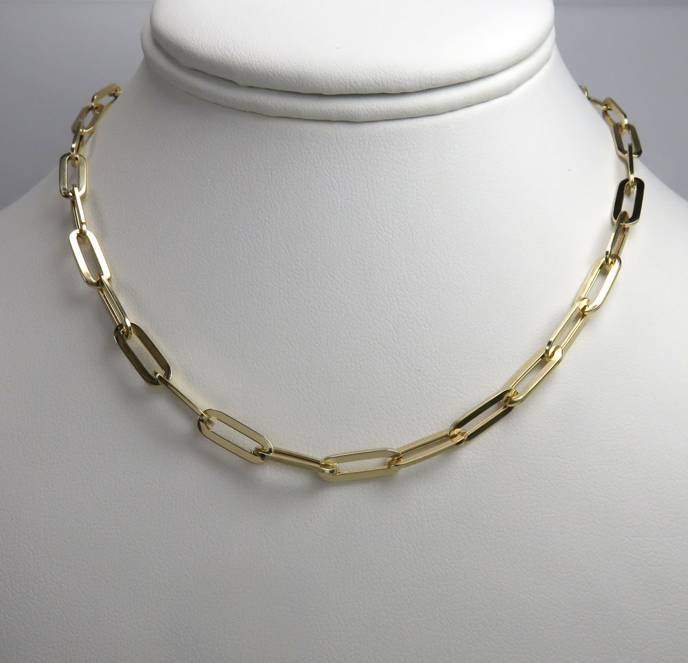 14k yellow gold hollow paper clip chain 16-30 inch 5mm