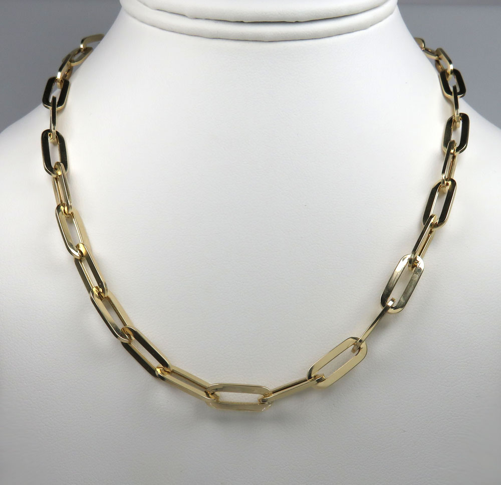 14k yellow gold hollow paper clip chain 16-30 inch 6.50mm