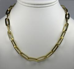 14k yellow gold hollow xl paper clip chain 18-30 inch 8mm