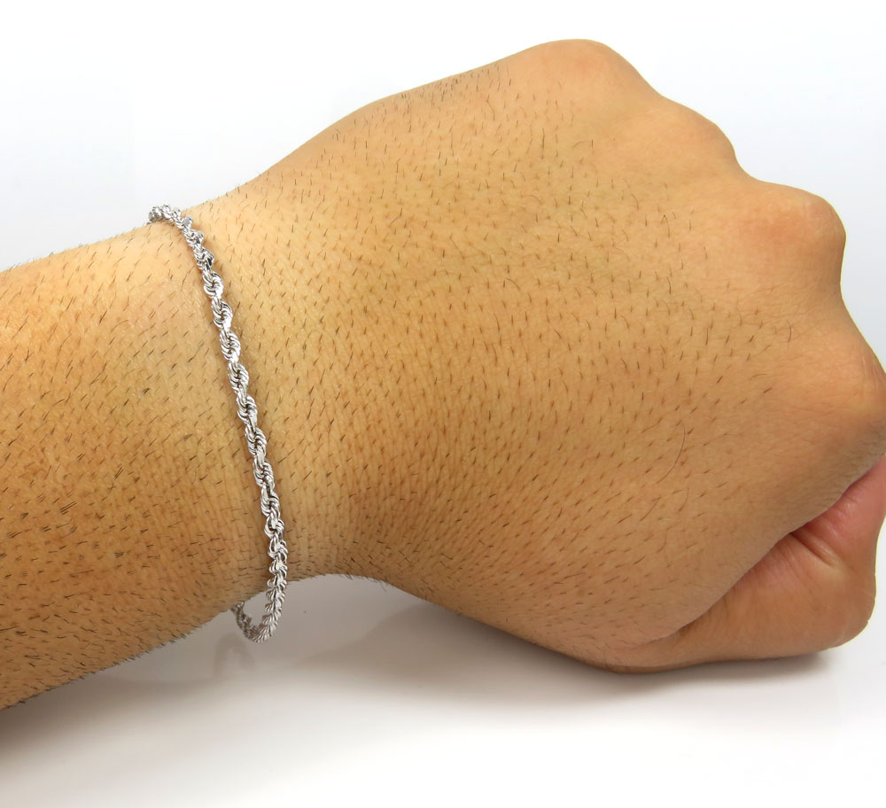 14k yellow or white gold solid diamond cut rope bracelet 8.50 inch 2.80mm