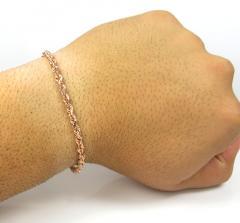 14k rose or white gold solid diamond cut rope bracelet 8 inch 3.50mm