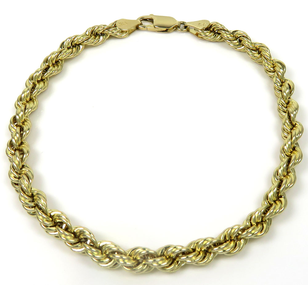 14k yellow gold hollow rope bracelet 7.75 inches 5mm