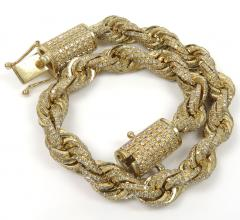 10k yellow gold 360 fully iced out  solid rope bracelet 8.25 inch 5.86ct