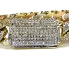 10k tri color solid  gold thick diamond miami bracelet 8.50