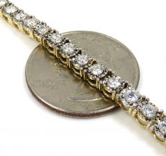 14k yellow gold round 7 pointer diamond illusion tennis chain 4.50mm 8.50ct 20-30