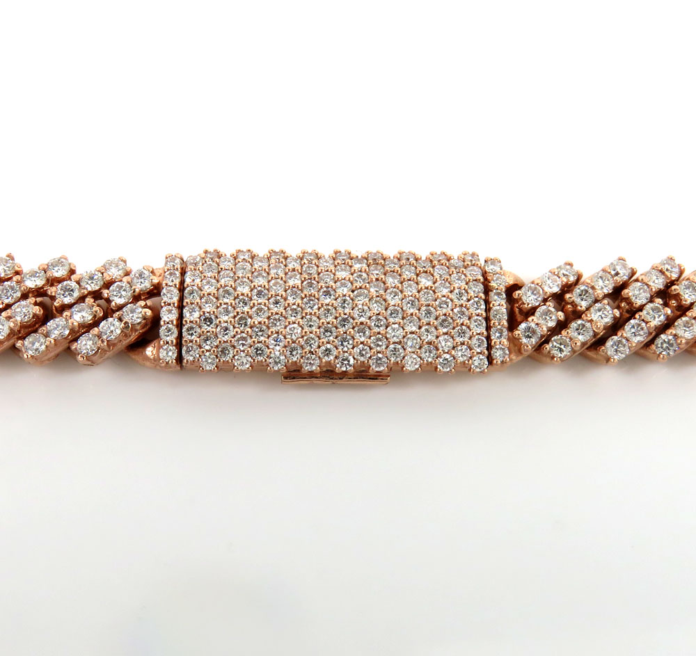 14k yellow white or rose gold diamond miami tight link chain 18-30